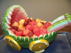 How to make a baby carriage out of a watermelon