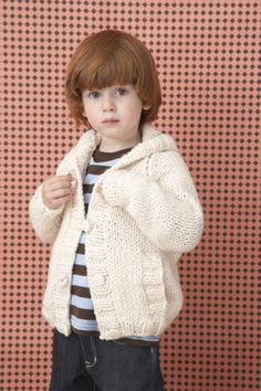 Knit this raglan cardigan with Wool-Ease for your kids to wear on their way to school on cold spring mornings.