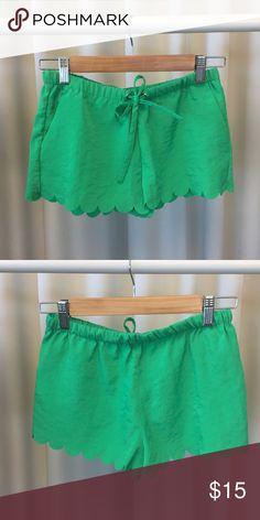 Green Scalloped Shorts Scalloped shorts with drawstring, fits sizes xs-small. Shorts