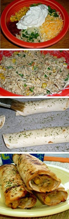 Crispy Chicken Tortilla Rollups | Brushed with garlic amp; cilantro oil and baked to a crisp. The creamy chicken filling is delish!!
