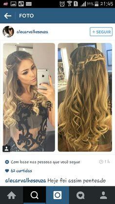 Das Ergebnis ist ein penteado romantico solto - Marriage - in 2019 Up Hairstyles, Pretty Hairstyles, Wedding Hairstyles, Homecoming Hairstyles, How To Make Hair, Bridesmaid Hair, Hair Dos, Ombre Hair, Hair Inspiration