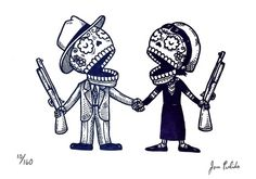 Bonnie and Clyde sugar skull tattoo? Yes, please!