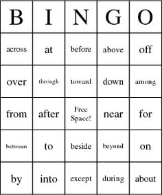 Prepositional Phrases Bingo Cards-try in Spanish (too out of context?)  do w/ pictures?