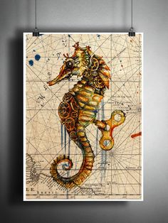 Seahorse splatter art print, steampunk sea horse, beach decor, world map art Strate Design, Seahorse Art, Seahorses, Seahorse Drawing, Steampunk Drawing, Steampunk Illustration, Rose Gold Bridal Jewelry, Splatter Art, World Map Art