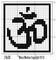 Filet Crochet: AUM OM Symbol Chart Graph Yoga Meditation Buddah Filet Crochet