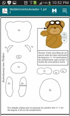 This can easily be a cute pattern Felt Animal Patterns, Felt Crafts Patterns, Stuffed Animal Patterns, Bear Felt, Felt Templates, Felt Fabric, Felt Diy, Felt Ornaments, Baby Crafts