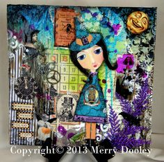 """Halloween Mixed Media Original 12x12 Painting  """"Something Wicked this way Comes""""   by Merrydipity, $60.00"""