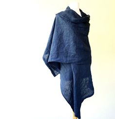 Very+large+linen+shawl+wrap+scarf+in+navy+blue+by+econica+on+Etsy,+$47.00