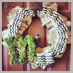 Spring Wreath.... Tina... You so have this chevron/burlap ribbon :) hint hint