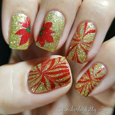Watermarbled Poinsettia Nails for #watermarblepracticewed #wmpw2016  This one was hard! Pushed the limits of my ability, but that's a good thing.   I started with 2 coats of Ziv by @zoyanailpolish. I topped it with a coat of Champagne Kisses by @pipedreampolish. Then I marbled the flowers with Amal by Zoya and Clearwater by Pipe Dream Polish.  #indieswatch #indiepolish #pipedreampolish #christmasnails #poinsettianails #watermarblenails #nailart #nailartwow #goldnails #toppedwithlove…