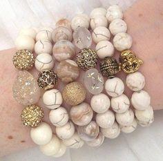 Jewelry Making Bracelets JL Beige Mix by Jessie Lane Gemstone Bracelets, Handmade Bracelets, Gemstone Jewelry, Jewelry Bracelets, Jewelery, Handmade Jewelry, Emerald Jewelry, Arm Candy Bracelets, Gucci Jewelry