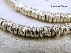 Silver Plated Brass Chips-Heishi-Rondelle Beads 6/2mm Hole 2mm (25)  #Unbranded #Boheiman