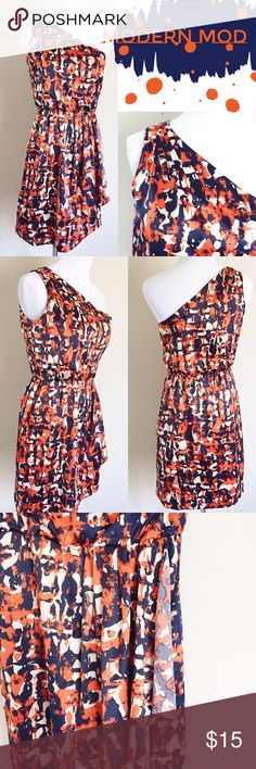 Blue and Orange Splash Print Dress NWT. Mod meets modern in this one shoulder dress from Banana Republic. Detailed with fine pleats at shoulder, side ruffle layer, and deep dark blue and bright orange contrasting colors splashed on silky stretch polyester / spandex blend fabric looks fab at parties or summer weddings. Flattering silhouette with cinched elastic waist. Photographs well from day to night. Banana Republic Dresses One Shoulder