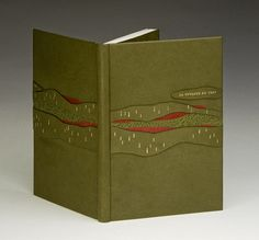 La Couleur du Vent bound by Cecile Cote // ARA-Canada International exhibition // bound in full green goatskin, red and green buffalo inlays, raised raw-edge onlays, gold foil tooled highlights