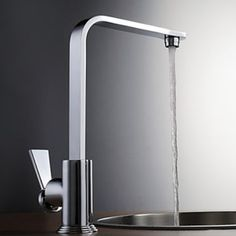 Modern Design Chrome Finish Right Angled Heightening Kitchen Faucet