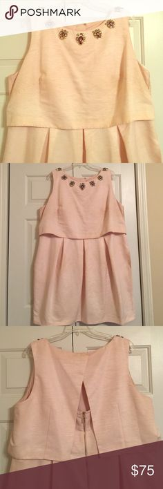 Blush popover style dress with embellished neck Perfect Blush Pink Party Dress. Great condition. Worn once. Eliza J Dresses