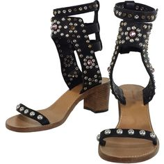 Pre-owned Isabel Marant - Black Elvis Caroll Studded Sandals Sz 9 (€345) ❤ liked on Polyvore featuring shoes, sandals, ankle wrap sandals, black studded sandals, black mid heel sandals, black jeweled sandals and leather ankle strap sandals