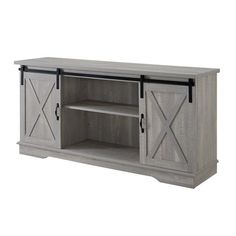 "Manor Park Modern Farmhouse Sliding Barn Door TV Stand for TV's up to 64"" - Stone Grey Image 3 of 5"