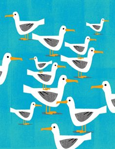 simple sea bird,herring gull repeat pattern illustration print,vintage childrens style