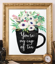 Kitchen print wall art decor You're my cup of by TwoBrushesDesigns #kitchenprintable