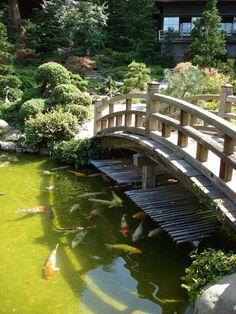garden design, Large Koi Pond With Bridge In Japanese Garden: Japanese Garden Design: Alternative Garden Design