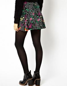 Image 2 of ASOS Box Pleat Skater Skirt in Spot and Floral Print