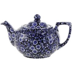 Burleigh Blue Calico Teapot - Small ($56) ❤ liked on Polyvore featuring home, kitchen & dining, teapots, blue, burleigh, blue teapot and blue tea pot