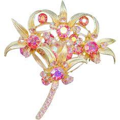 Verified Vintage Juliana D&E Rose Pink Flower Brooch Pin Venus Flames