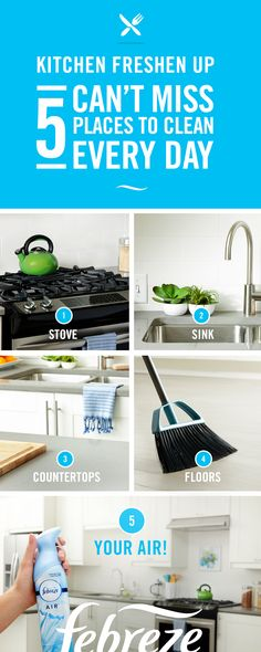 Wondering how to keep your kitchen clean every day? Adding a few minutes of spot cleaning to your daily cleaning schedule will keep the kitchen clean top to bottom and everywhere in between. So get out there and practice clean habits with some quick pick-ups, wipe-ups, and sweep-ups—and freshen up the kitchen air with Febreze.