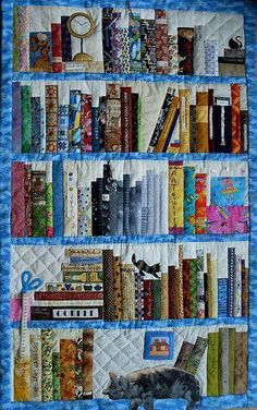 Bookcase quilt from flicker