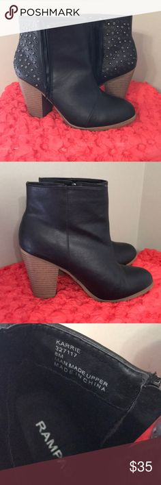 Rampage ankle boots with attitude! Vegan leather, 3 1/2 inch heel, oh so nice. Worn about three times. Excellent used condition . Rampage Shoes Ankle Boots & Booties
