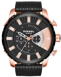 DIESEL® 'Stronghold' Chronograph Leather Watch, available at Stylish Watches, Luxury Watches For Men, Diesel Watches For Men, Mens Watches Online, Online Watch Store, Rose Gold Watches, Bracelet Cuir, Watch Brands, Fashion Watches