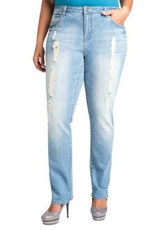 Ashley Stewart Women's Plus Size Distressed Denim Jean - http://www.styledetails.com/ashley-stewart-womens-plus-size-distressed-denim-jean - http://ecx.images-amazon.com/images/I/41OzLQBfl4L.jpg