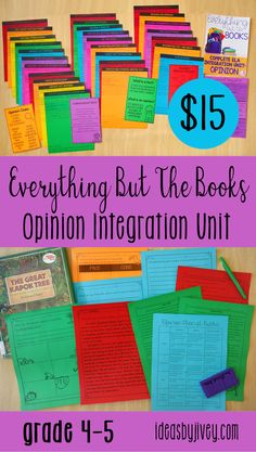 Teaching opinion writing and reading? Check out these standards-aligned integrated lesson plans, activities, checklists, rubrics, and opinion writing prompts perfect for 4th grade students. This resource covers EVERYTHING but the mentor texts. Click the pin to see all the activities included!
