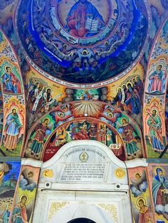 murals at the entrance to the Rila Monastery
