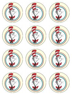 Sam I Ams 2nd Birthday Party Dr seuss cupcake toppers Dr seuss