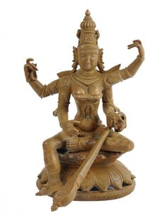 This Saraswathi Veenavani  sculpted bronze figurine is crafted using the 'Lost Wax' method of metal casting, also known as 'Cire Perdue', that can be traced back 4500 years to the ancient city of Mohenjodaro and is probably the oldest technique of metal casting.Vedic mantras are recited by master artisans, based in a small hamlet in Tamil Nadu, during their making which allows these statues to imbibe their powerful vibrations.