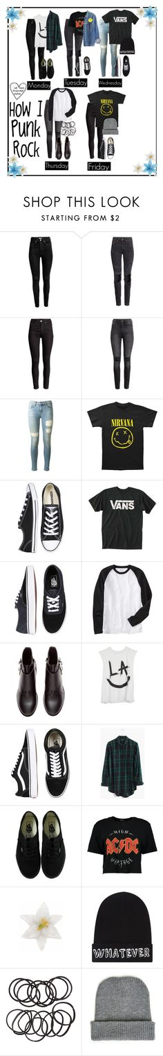 """&;HOW I PUNK ROCK"" by xxkatiehemmingsxx ❤ liked on Polyvore featuring H&M, rag & bone, Converse, Vans, Old Navy, Madewell, Boohoo, Levi's, Clips and Local Heroes"