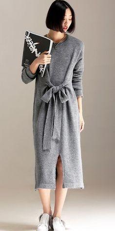 Elegant Casual Gray Knitted Maxi Base Dresses For Women Knit Fashion, Boho Fashion, Boho Dress, Knit Dress, Linen Dresses, Casual Dresses, Luxury Dress, Dress Silhouette, Couture