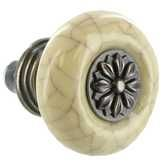 Ceramic Crackle Knob with Metal Center
