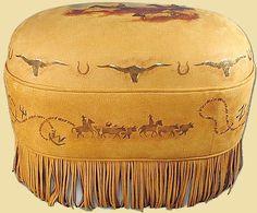 western leather longhorn ottoman