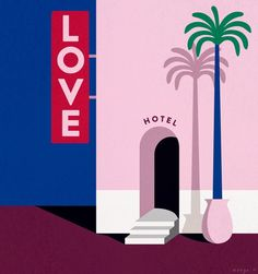 Love Hotel - Just take a walk down Lonely Street . Halloween Painting, Art Painting, Simple Artwork, Art Drawings, Illustration Art, Art, Painting Art Projects, Abstract Geometric Art, Pop Art