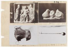 Album noir 5, folio 71 :quatre photographies d'objets trouvées à Alise : triade le Capitole trouvé AnonymeSaint-Germain-en-Laye, musée d'Archéologie nationale et Domaine national de Saint-Germain-en-Laye