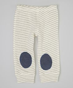 Take a look at this Squeeky Knees Gray & White Stripe Squeaker Leggings - Infant on zulily today!
