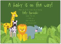 Cool FREE Template Jungle Themes Baby Shower Invitations