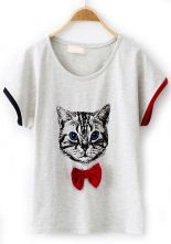 Light+Grey+Short+Sleeve+Cat+Print+Bow+T-Shirt+US$21.48 Moda Casual, Fashion Essentials, Grey Shorts, Cat Shirts, Pet Clothes, Clothing Items, Shirt Designs, T Shirts For Women, My Style