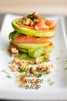 An easy and quick to make Green Apple Salmon Avocado Salad recipe full of nutrition. A gorgeous looking true symphony of flavors and textures. Avocado Salad Recipes, Healthy Salad Recipes, Salmon Recipes, Seafood Recipes, Healthy Snacks, Apple Recipes, Fish Recipes, Brunch Recipes, Vegetarian Recipes Easy