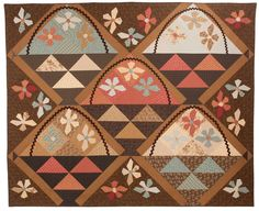 Flower baskets, Buggy Barn Applique Quilt Patterns, Applique Ideas, Geometric Quilt, Basket Quilt, Doll Quilt, English Paper Piecing, Sewing Studio, Small Quilts, Barn Quilts