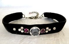 Choker black velvet necklace with rhinestones and by LoveThirties, €28.00