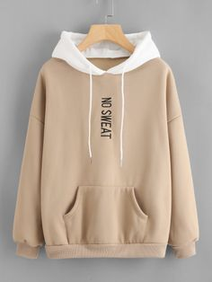 Shop Plus Letter Embroidered Drop Shoulder Hoodie online. SHEIN offers Plus Letter Embroidered Drop Shoulder Hoodie & more to fit your fashionable needs. Hoodie Sweatshirts, Hoody, Trendy Hoodies, Vetement Fashion, Mode Hijab, Korean Fashion, Fashion Outfits, Ladies Fashion, Fashion Styles